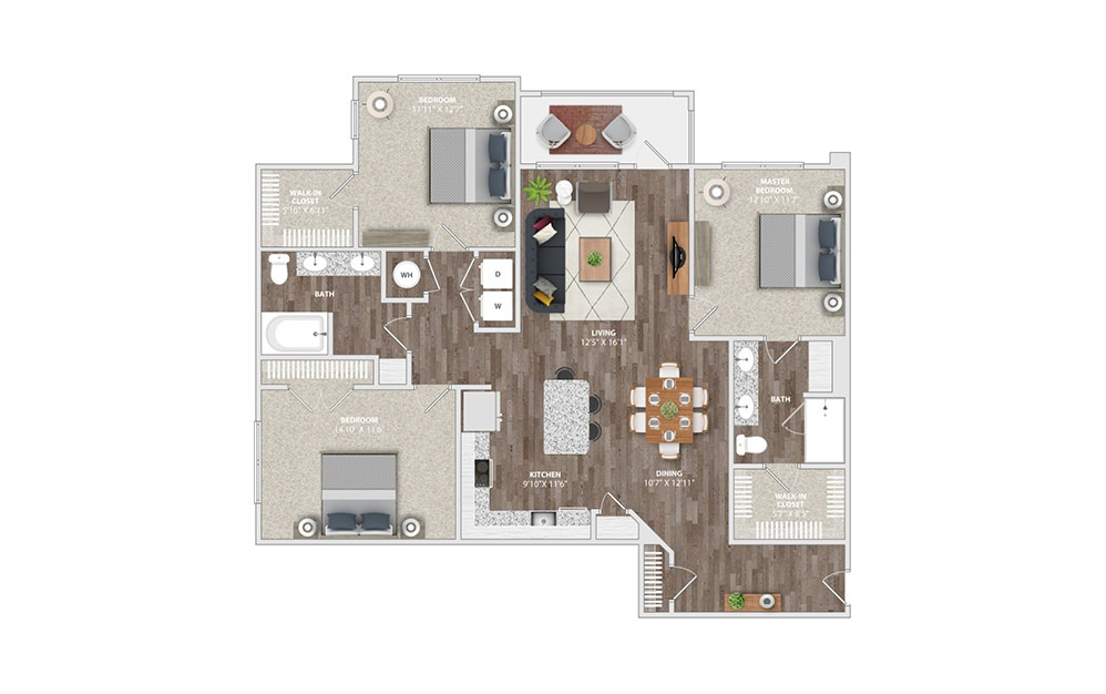 C2 - 3 bedroom floorplan layout with 2 baths and 1505 square feet.